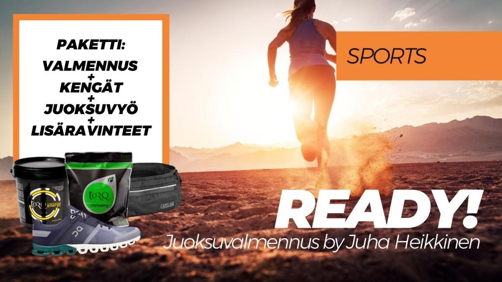 READY! -juoksuvalmennus + tuotepaketti